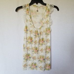 ROBIN K  NORDSTROM LACE FLORAL TANK TOP MEDIUM